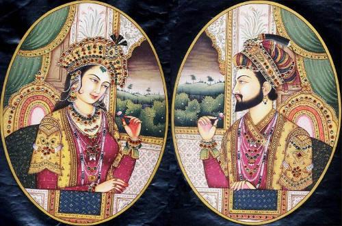 El emperador Shah Jahan y su esposa Mumtaz Mahal