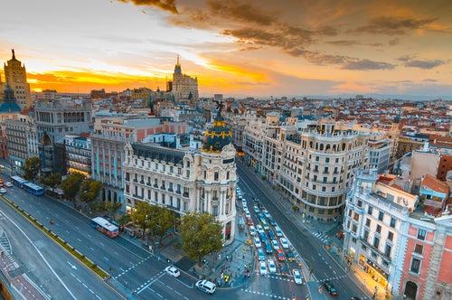 Vista aérea de la Gran Vía de Madrid