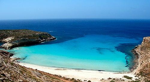 Playa en la isla de Lampedusa