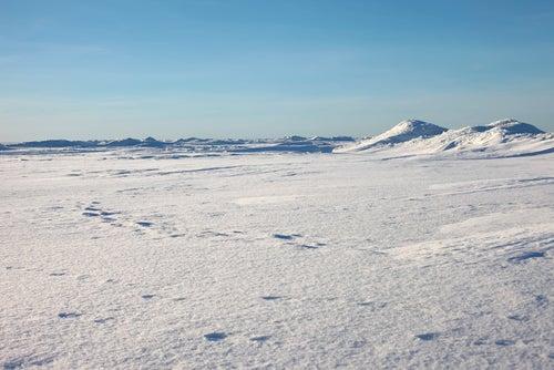 Desierto antártico helado.