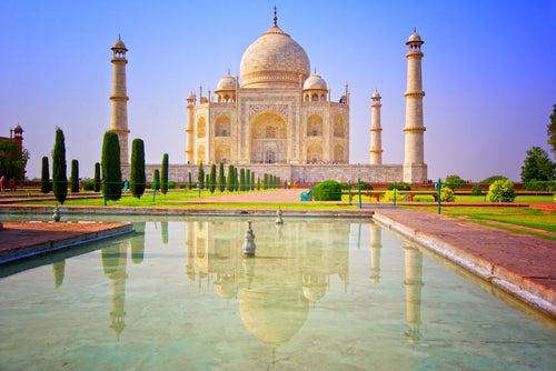 Vista del Taj Mahal en la India