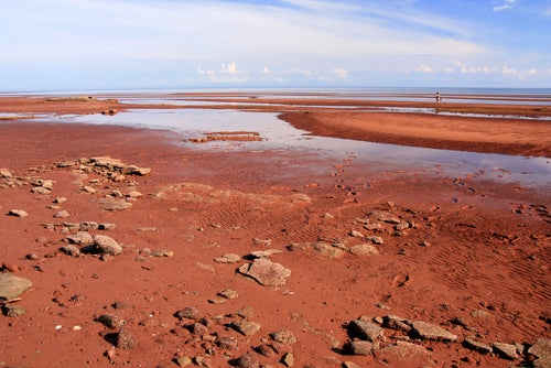 Arena roja en Red Sands Shore