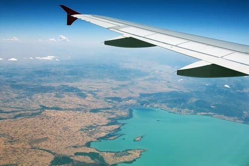 Mar Mediterráneo desde un avión