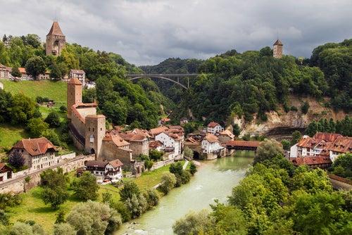 Vista de Friburgo en Suiza