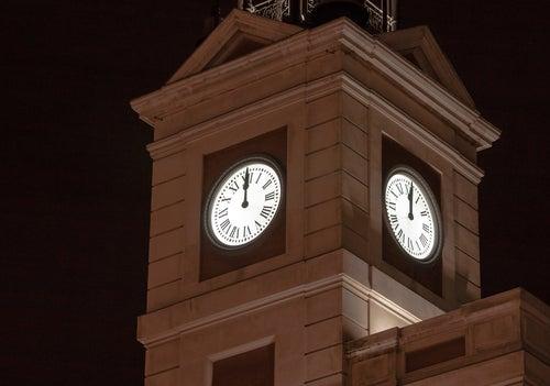 Reloj de la Puerta del Sol en Nochevieja
