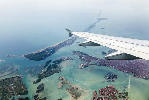 Aviçon sobre la laguna de Venecia