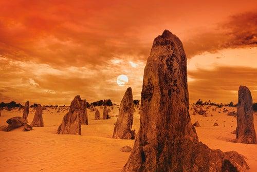 Puesta de sol en el desierto de los Pináculos