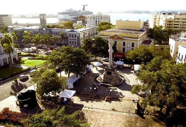 Plaza Colón en Viejo San Juan