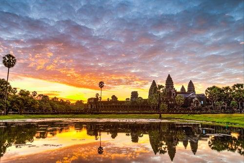 Templosd e Angkor al atardecer