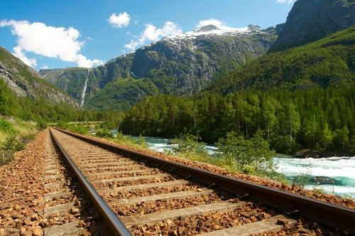 Vías de tren en Noruega