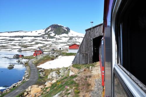 Paisaje noruego desde el tren
