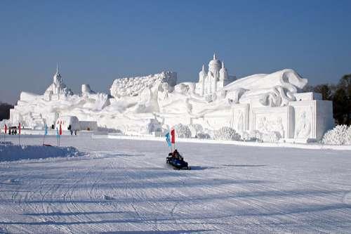 Escultura de nieve en Harbin