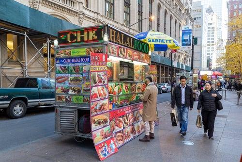Puesto callejero en Nueva York