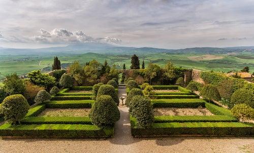 Jardín del Palazzo Picolomini en Pienza