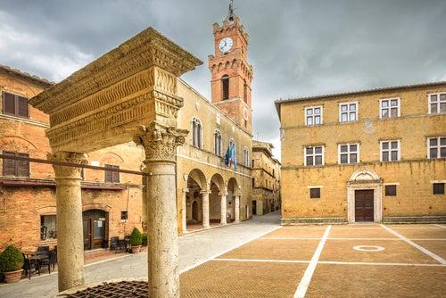 Piazza Pío II en Pienza