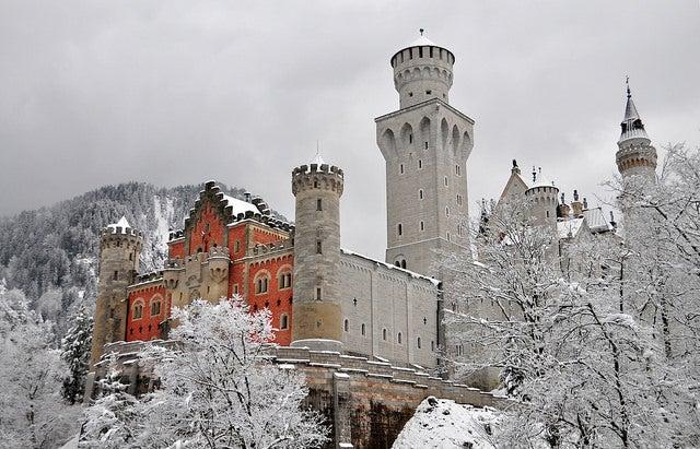 Castillo de Neuschwantein nevado