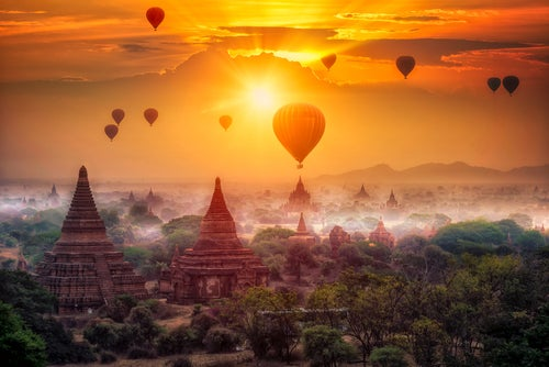 Viaje en globo sobre Bagan