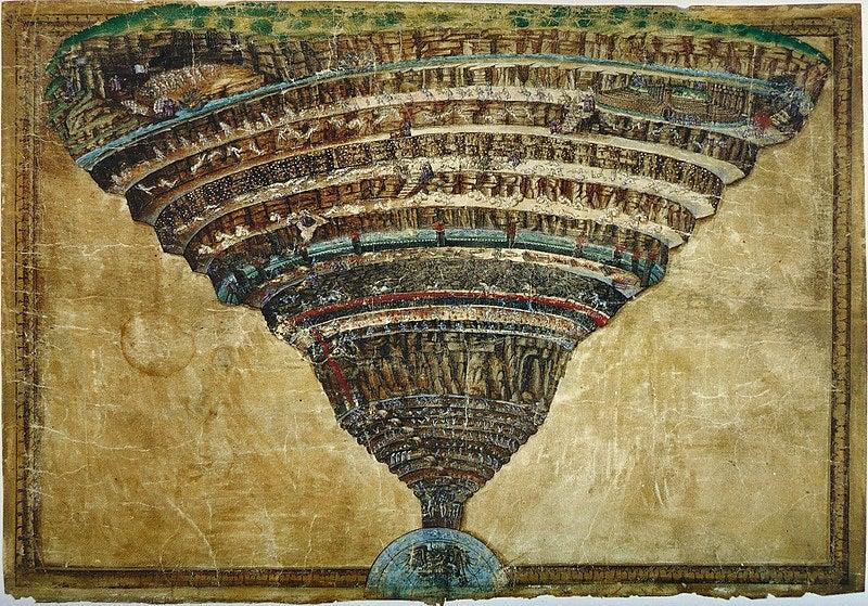 El abismo del Infierno de Botticelli.