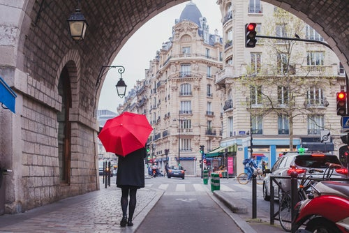 París con lluvia