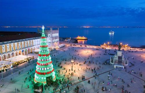Plaza del Comercio de Lisboa en Navidad