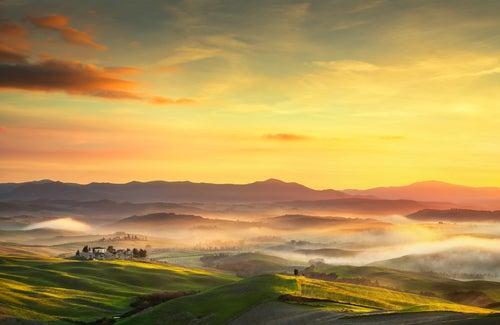 Paisaje de Volterra en la Toscana