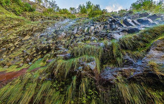 Cascada do Riscon en un de las rutas de senderismo en Madeira