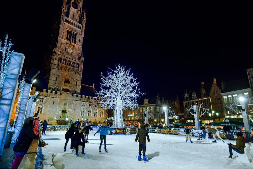 Navidad en Bélgica, pista de patinaje en Gante