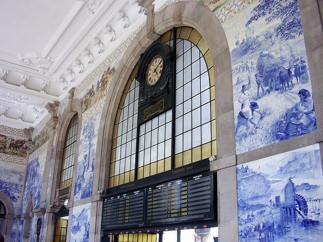 Estación de Sao Bento en la ciudad de Oporto