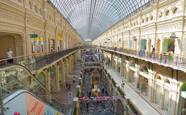 Galerías GUM en la Plaza Roja de Moscú
