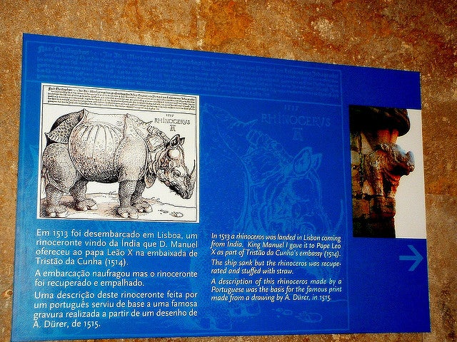 Panel con el rinoceronte de la torre de Belem