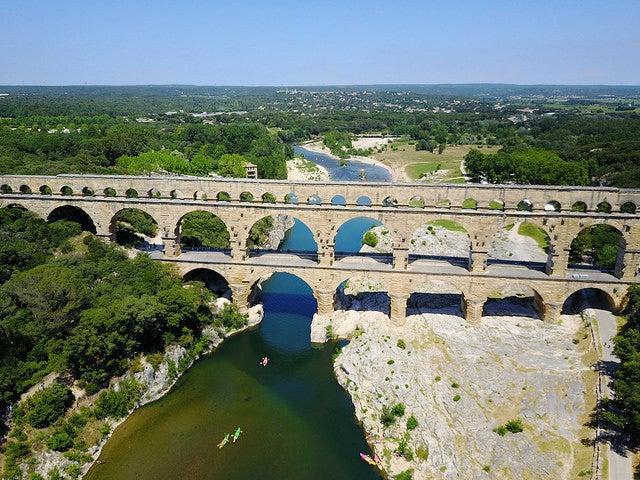 Vista aérea del puente de Gard