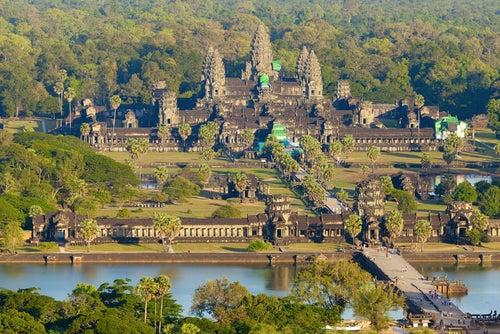 Vista aérea de Angkor Wat en Camboya