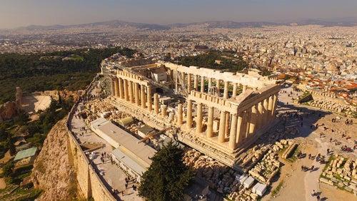 Vista aérea del Partenón de Atenas
