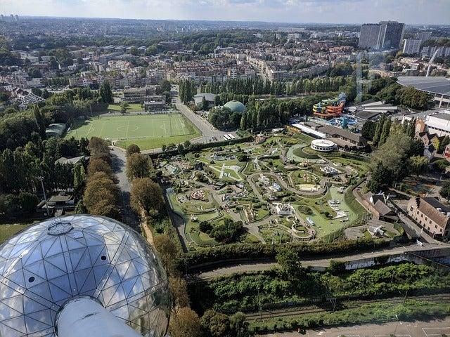 Visitar el Atomium de Bruselas, vista aérea