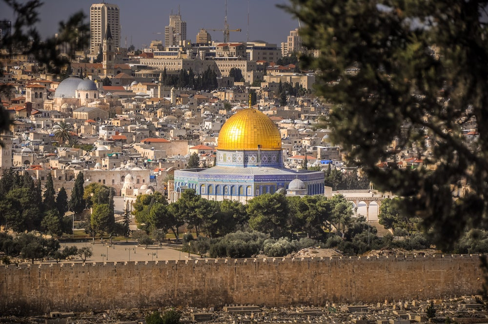 Cupula de la Roca y Jerusalén al fondo