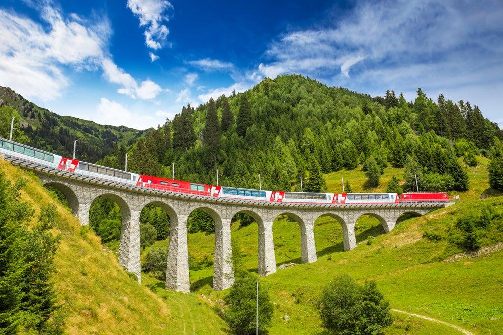 Tren del Interrail europeo en Suiza