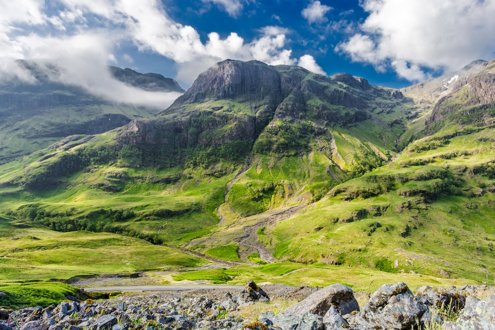 Valle de Glencoe en el West Highland Way de Escocia