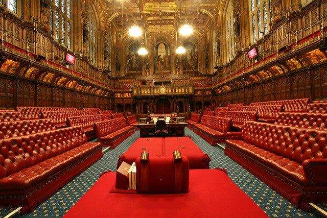 Cámara delos Lores en el Parlamento de Londres