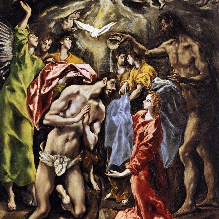 El bautismo de Cristo de el Greco