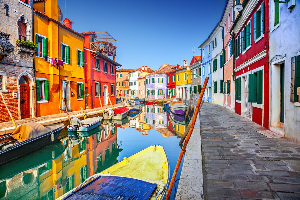 Canales de Burano en Italia