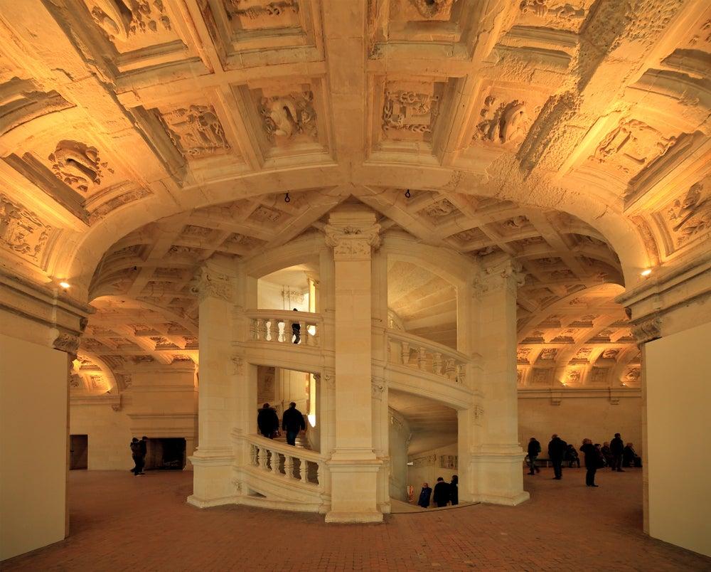 Escalera del castillo de Chambord