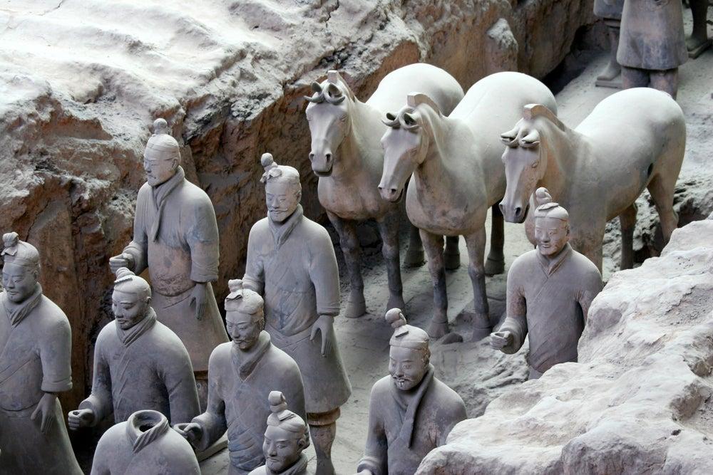 ejército de terracota, guerreros con montura