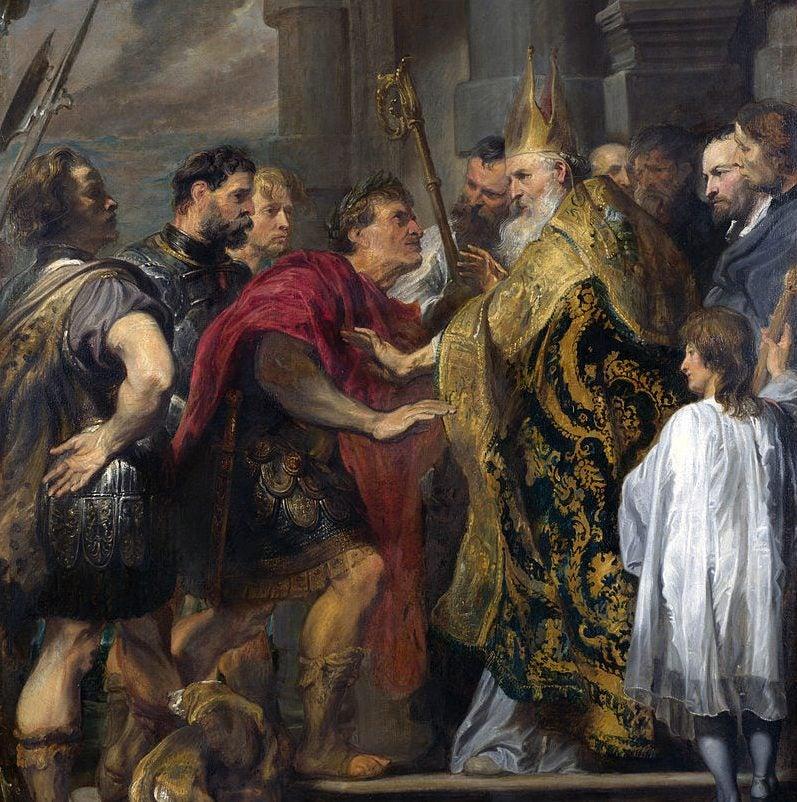 El emperador Teodosio y san Ambrosio de Van Dyck