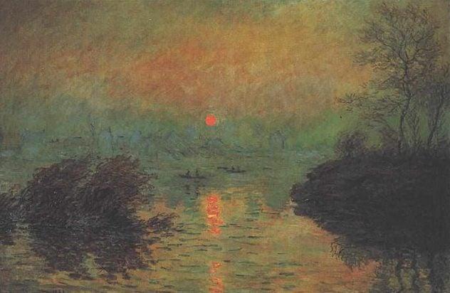 Atardecer en el Sena en Lavacourt de Monet