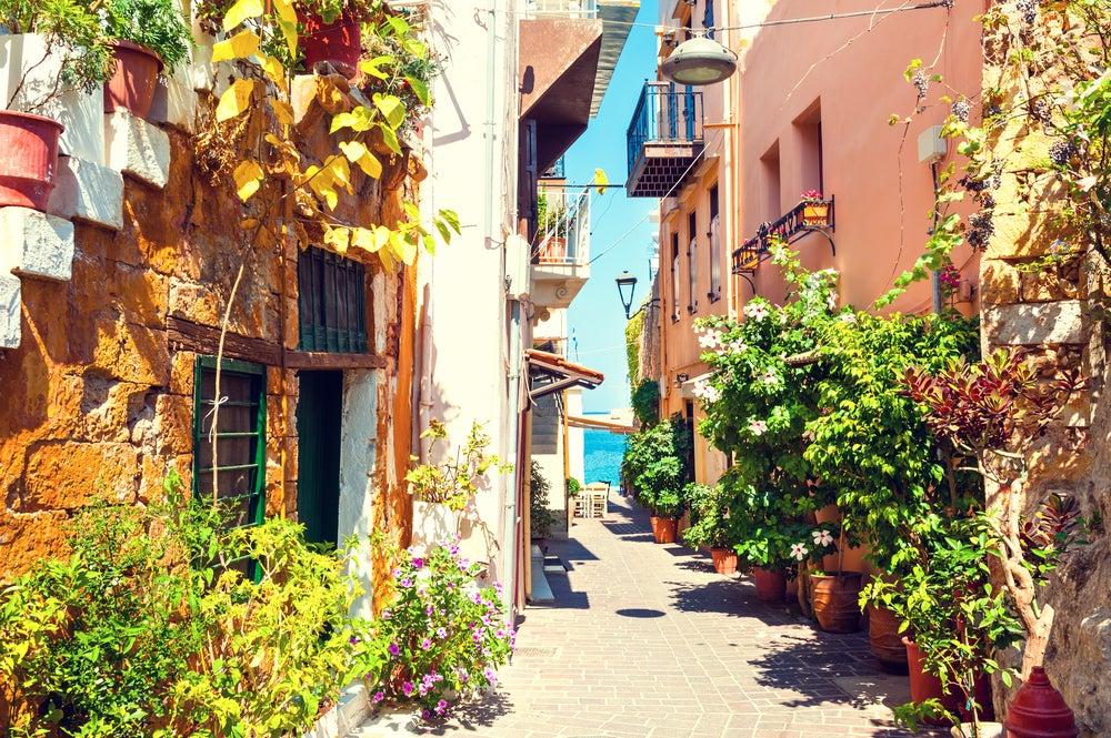 Chania en la isla de Creta en Grecia