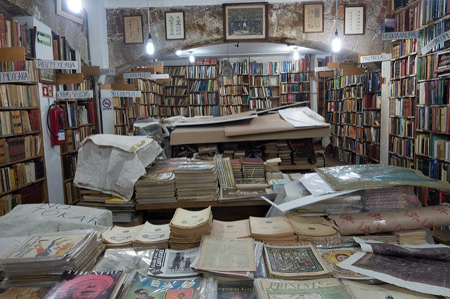 Librería en la calle Donceles de Ciudad de México