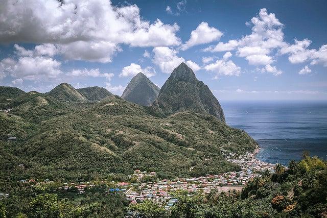 Soufriere en la isla de Santa Lucía