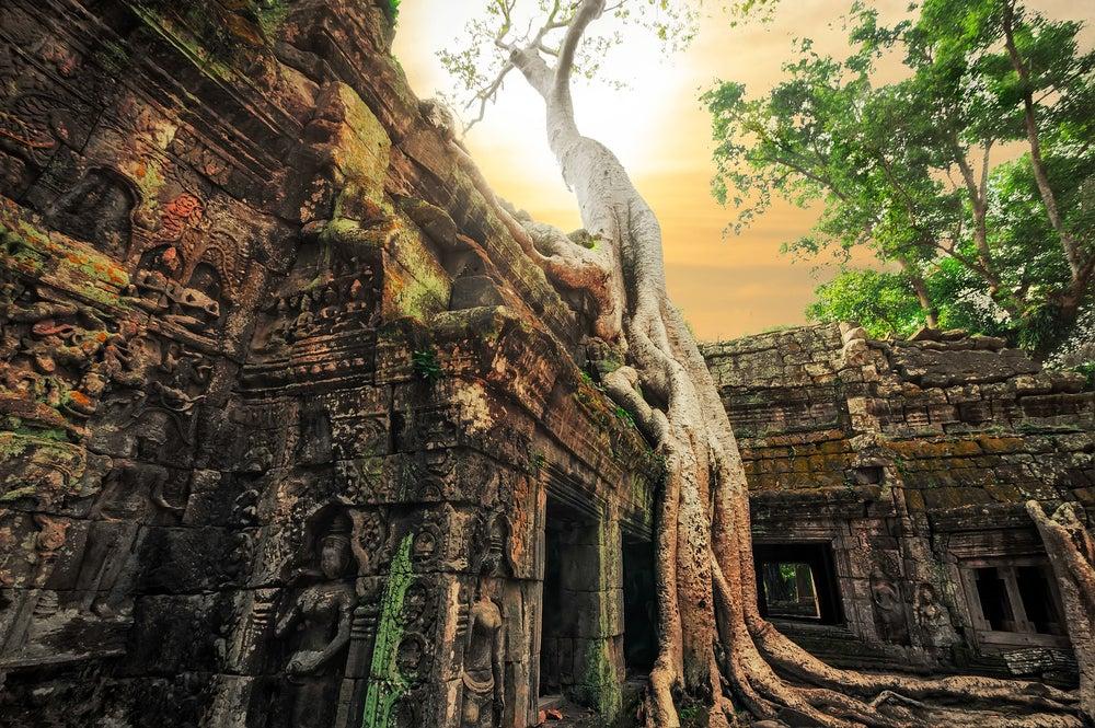 Amanecer en Ta Prohm en Angkor