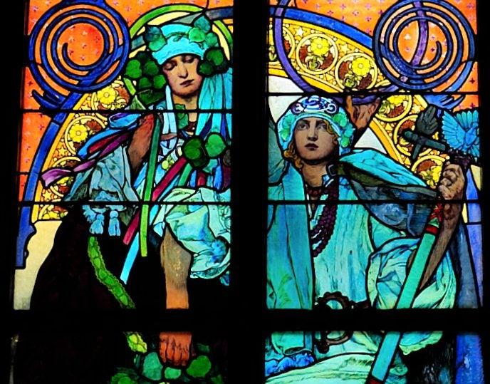 Vidriera de Mucha en la catedral de San Vito de Praga