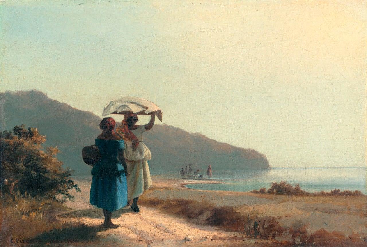Mujeres junto al mar de Pissarro